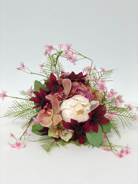Billede af Evighedsbuket m. bonderoser og orkidéer.