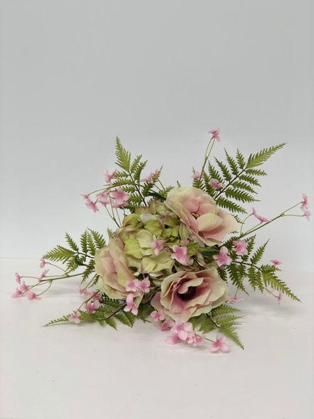 Billede af Evighedsbuket m. hortensia og anemoner.